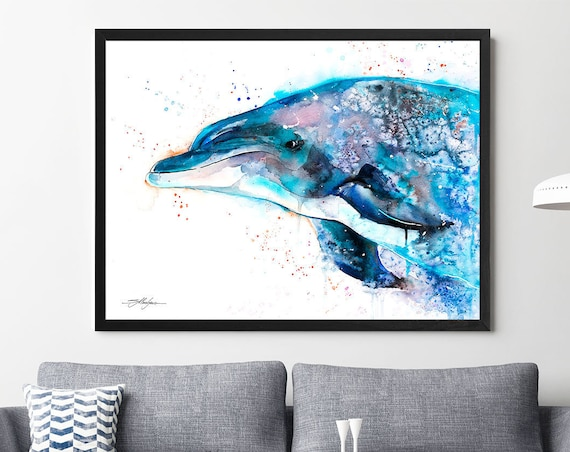 Atlantic salmon watercolor framed canvas by Slaveika Aladjova, Limited edition, art, animal watercolor, animal illustration,