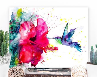 Violetear Hummingbird watercolor painting print by Slaveika Aladjova, art, animal, illustration, bird, home decor, Flower, Hibiscus