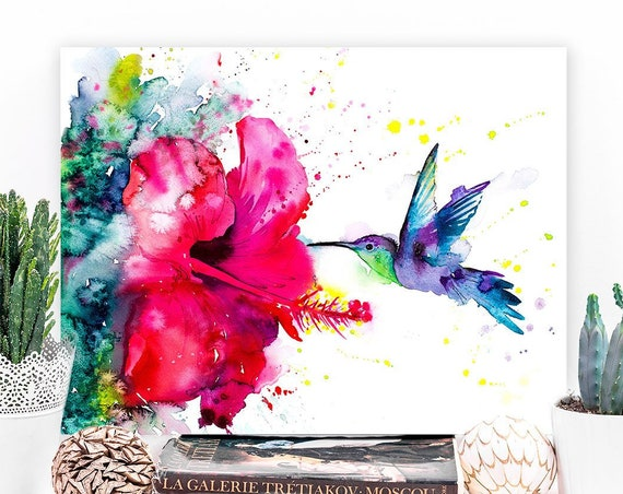 Violetear Hummingbird watercolor painting print by Slaveika Aladjova, art, animal, illustration, bird, home decor, Flower, Hibiscus