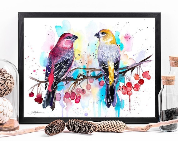 Pine Grosbeaks watercolor framed canvas by Slaveika Aladjova, Limited edition, art, animal watercolor, animal illustration, art