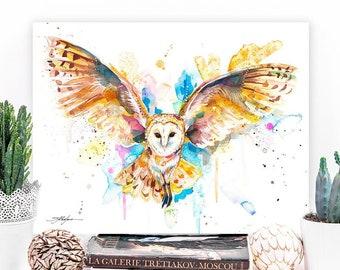 Barn owl in flight watercolor painting print by Slaveika Aladjova, art, animal, illustration, bird, home decor, wall art, gift, portrait,