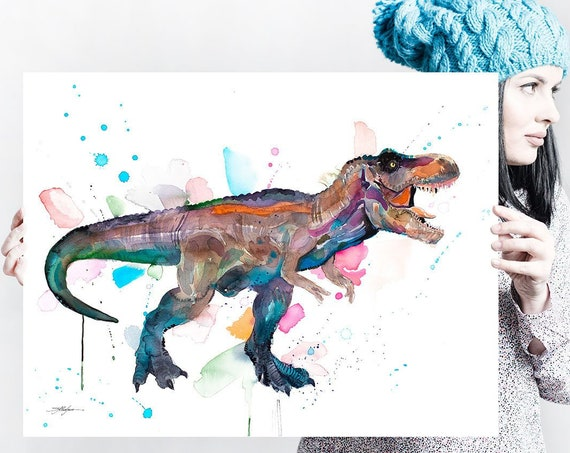 Tyrannosaurus rex, T rex dinosaur watercolor painting print by Slaveika Aladjova, art, animal, illustration, home decor, Nursery, gift,