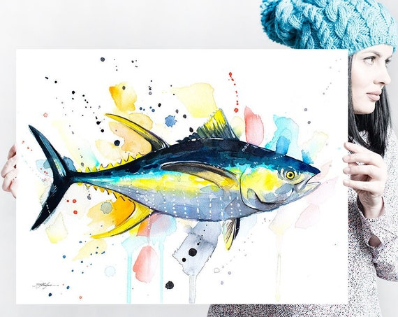 Yellowfin tuna watercolor painting print by Slaveika Aladjova, art, animal, illustration, Sea art, sea life art, home decor, Wall art