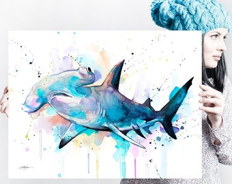 Hammerhead shark watercolor painting print by Slaveika Aladjova, art, animal, illustration, Sea art, sea life art, home decor, Wall art