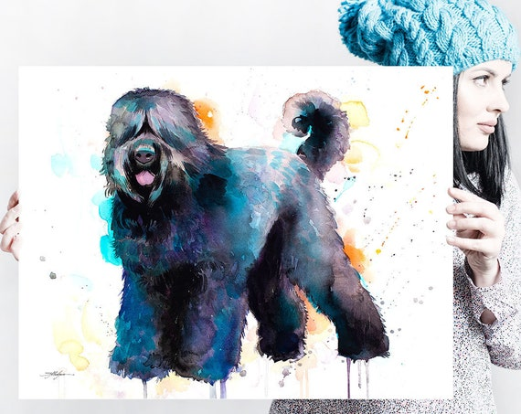 Black Russian Terrier watercolor painting print by Slaveika Aladjova, animal, illustration, home decor, Nursery, Contemporary, dog art,