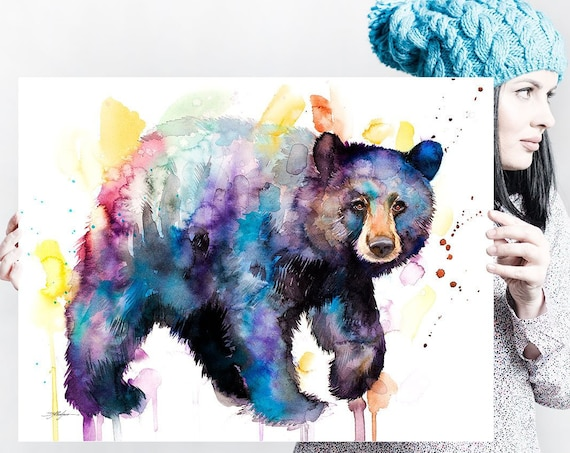 American black bear watercolor painting print by Slaveika Aladjova, art, animal, illustration, home decor, Nursery, gift, Wildlife, wall art
