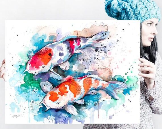 Koi watercolor painting print by Slaveika Aladjova, large canvas, art, animal, illustration, home decor, Nursery, Wildlife, wall art, fish