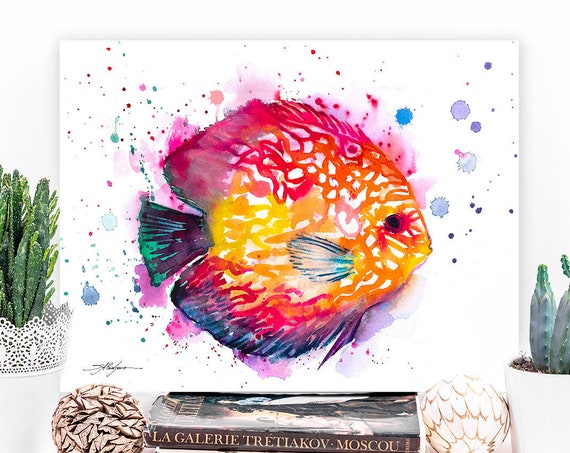 Discus watercolor painting print by Slaveika Aladjova, art, animal, illustration, Sea art, sea life art, nautical, ocean art, wall art, Fish