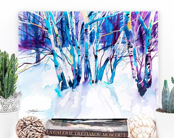 Birches landscape watercolor painting print by Slaveika Aladjova, nature art, landscape, original, winter landscape, snow, tree, landscape,