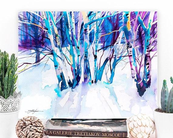 Birches landscape watercolor painting print by Slaveika Aladjova, nature art, landscape, original, winter landscape, snow, tree, landscape,