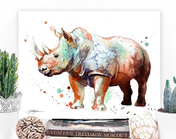 Rhinoceros watercolor painting print by Slaveika Aladjova, art, animal, illustration, home decor, Nursery, gift, Wildlife, wall art,