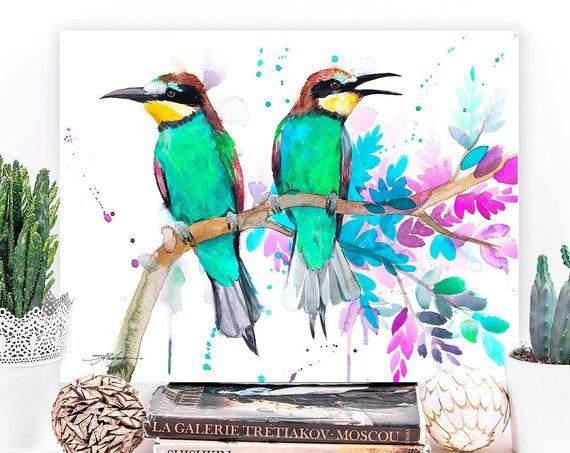 Bee-eater watercolor painting print by Slaveika Aladjova, art, animal, illustration, bird, home decor, wall art, gift, Flower,