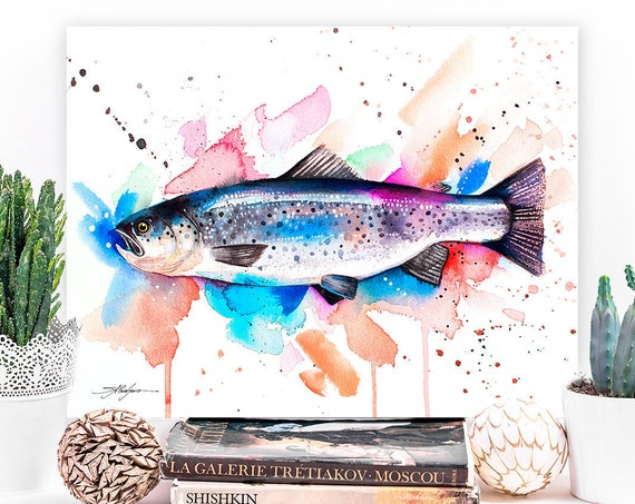 Atlantic salmon watercolor painting print by Slaveika Aladjova, art, animal, illustration, Sea art, Wall art, fish art, fish print,