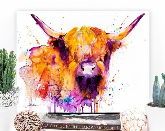 Highland Cow watercolor painting print by Slaveika Aladjova, animal art, illustration,wall art, home decor, gift, Giclee Print, Cow, farm