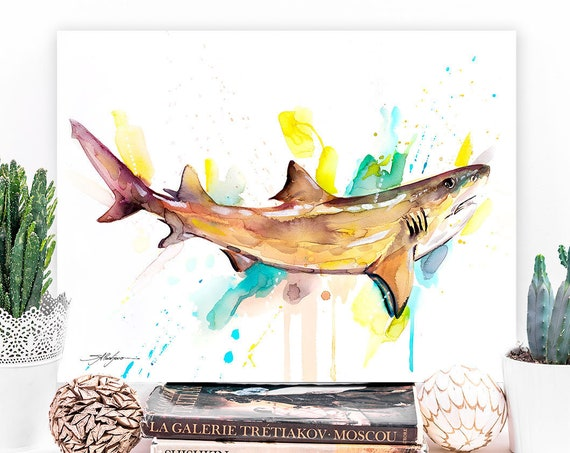 Lemon shark watercolor painting print by Slaveika Aladjova, art, animal, illustration, Sea art, sea life art, home decor, Wall art
