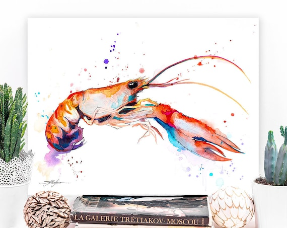 Crawfish watercolor painting print by Slaveika Aladjova, art, animal, illustration, Sea art, sea life art, nautical, ocean art