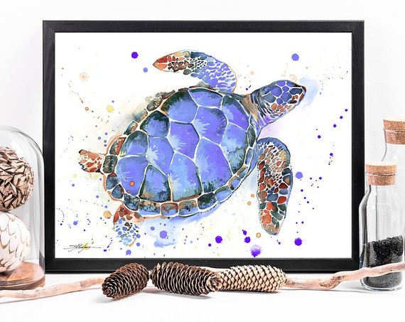 Purple Sea turtle watercolor framed canvas by Slaveika Aladjova, Limited edition, art, animal watercolor, illustration,extra large canvas