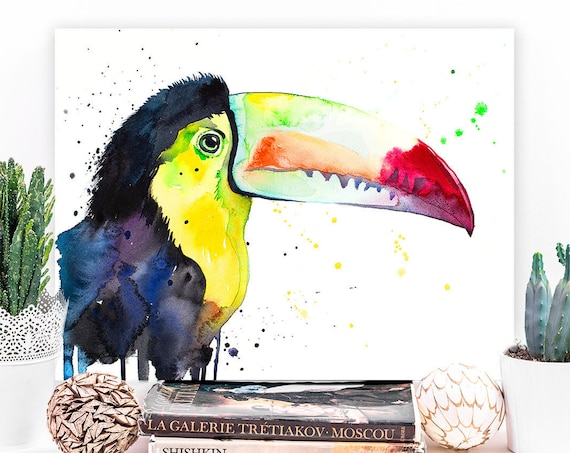 Keel-Billed Toucan watercolor painting print by Slaveika Aladjova, art, animal, illustration, bird, home decor, wall art, gift, Wildlife