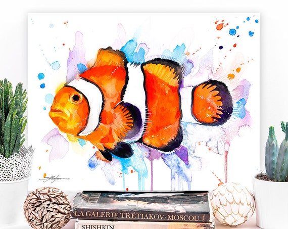 Clownfish, Anemonefish watercolor painting print by Slaveika Aladjova, art, animal, Sea art, nautical, ocean art, wall art, Fish