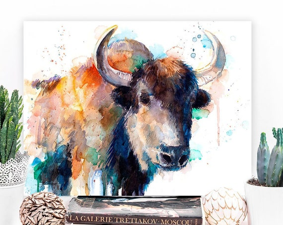 Tibetan Yak, Domestic yak watercolor painting print by Slaveika Aladjova, art, animal, illustration, home decor, Nursery, gift, wall art
