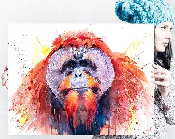 Bornean orangutan watercolor painting print by Slaveika Aladjova, art, animal, illustration, home decor, Nursery, Wildlife, monkey