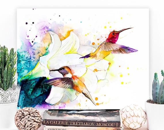 Hummingbirds watercolor painting print by Slaveika Aladjova, art, animal, illustration, bird, home decor, wall art, gift, portrait, Flower