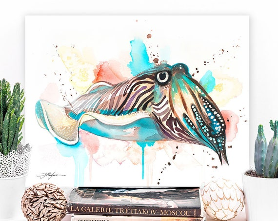 Common Cuttlefish watercolor painting print by Slaveika Aladjova, art, animal, illustration, Sea art, sea life art, home decor, Wall art