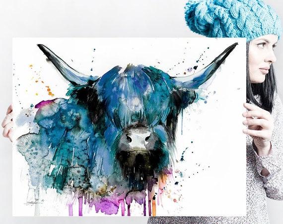 Black Highland Cow Cattle watercolor painting print by Slaveika Aladjova, art, animal, illustration, home decor, Nursery, Wildlife, wall art