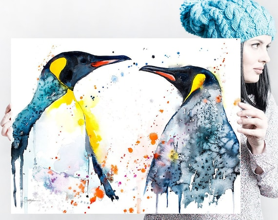 King Penguins Love watercolor painting print by Slaveika Aladjova, animal, illustration, Sea art, sea life art, nautical, ocean art, bird