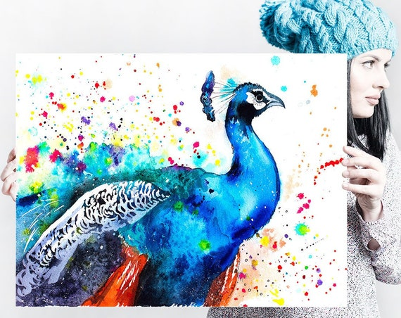 Peacock watercolor painting print by Slaveika Aladjova, art, animal, illustration, bird, home decor, wall art, gift, Wildlife