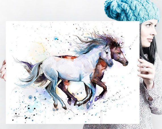 Horses watercolor painting print by Slaveika Aladjova, art, animal, illustration, home decor, wall art, gift, portrait, Contemporary