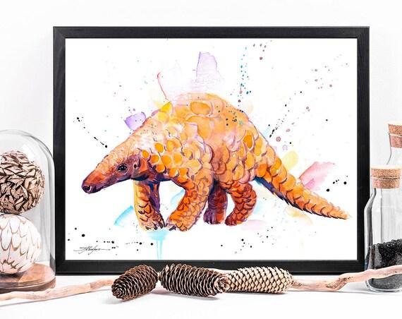 Indian Pangolin watercolor framed canvas by Slaveika Aladjova, Limited edition, art, animal watercolor, animal illustration, large canvas