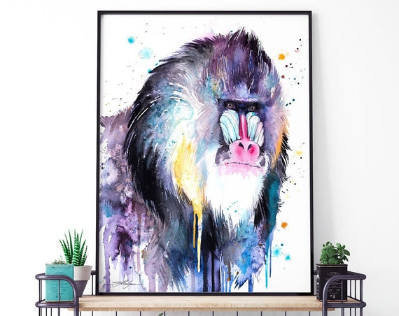 Mandrill watercolor framed canvas by Slaveika Aladjova, Limited edition, art, animal watercolor, animal illustration,