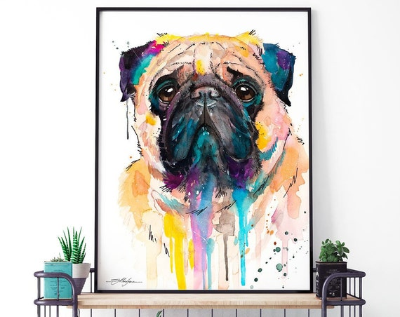 Pug watercolor framed canvas by Slaveika Aladjova, Limited edition, art, animal watercolor, animal illustration, pet art, Contemporary