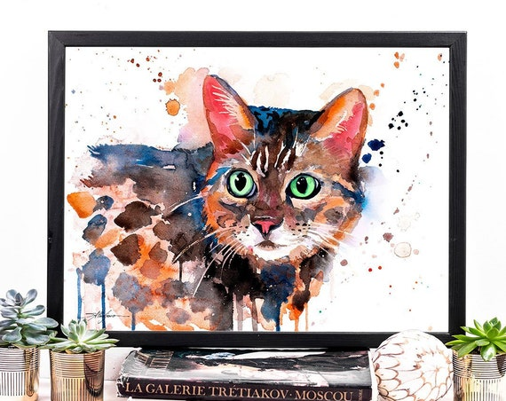 Bengal cat watercolor framed canvas by Slaveika Aladjova, Limited edition, art, animal watercolor, animal illustration, extra large print
