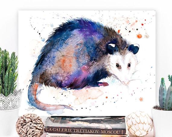 Opossum watercolor painting print by Slaveika Aladjova, art, animal, illustration, home decor, Nursery, gift, wall art, Contemporary