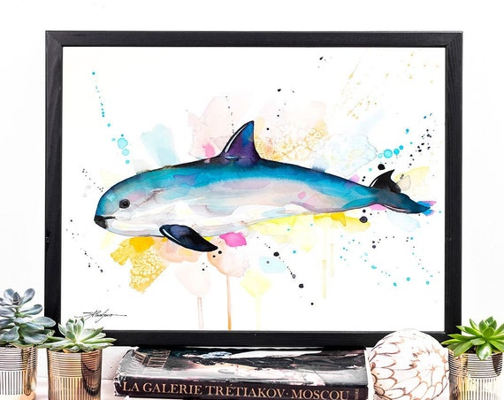 Vaquita watercolor framed canvas by Slaveika Aladjova, Limited edition, art, animal watercolor, animal illustration, extra large print