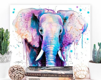 Purple Elephant watercolor painting print by Slaveika Aladjova, art, animal, illustration, home decor, Nursery, Home decor, Wildlife