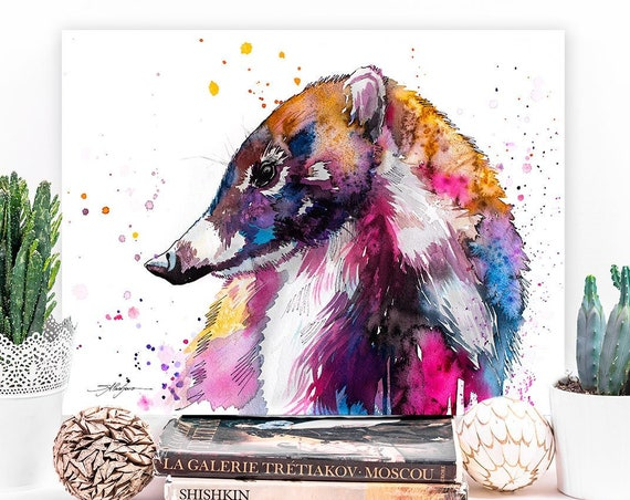 Coati watercolor painting print by Slaveika Aladjova, art, animal, illustration, home decor, wall art, gift, portrait, Contemporary