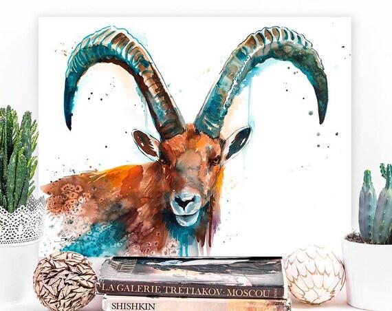 Alpine ibex watercolor painting print by Slaveika Aladjova, goat, art, animal, illustration, home decor, Nursery, gift, Wildlife, wall art