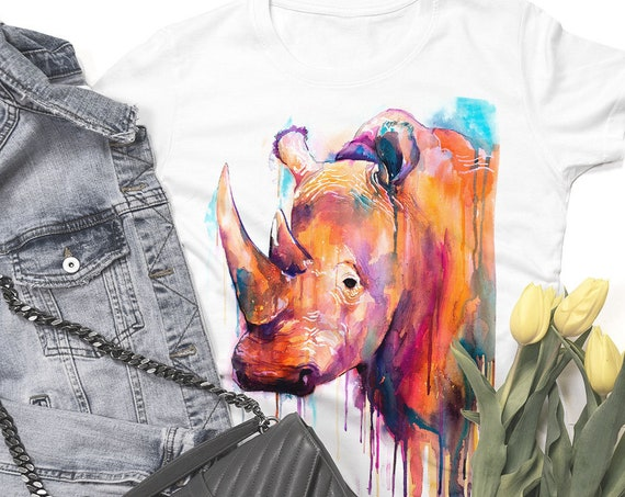 Colorful Rhino watercolor ladies' T-shirt, women's tees, Teen Clothing, Girls' Clothing, ring spun Cotton 100%, watercolor print T-shirt,art