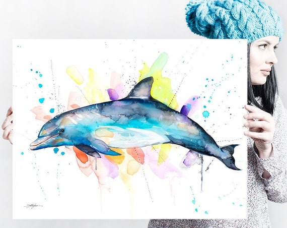Bottlenose dolphin watercolor painting print by Slaveika Aladjova, art, animal, illustration, Sea art, sea life art, nautical, ocean art