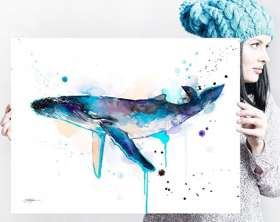Humpback whale watercolor painting print by Slaveika Aladjova, art, animal, illustration, Sea art, sea life art, nautical, ocean art