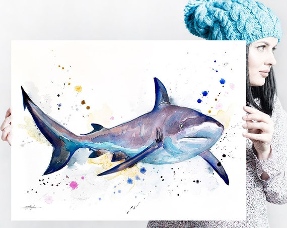 Grey reef shark watercolor painting print by Slaveika Aladjova, art, animal, illustration, Sea art, sea life art, home decor, ocean art