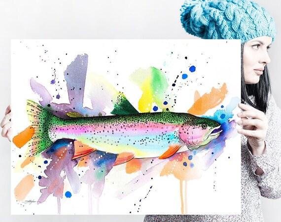 Rainbow trout watercolor painting print by Slaveika Aladjova, art, animal, illustration, Sea art, Wall art, fish art, fish print,