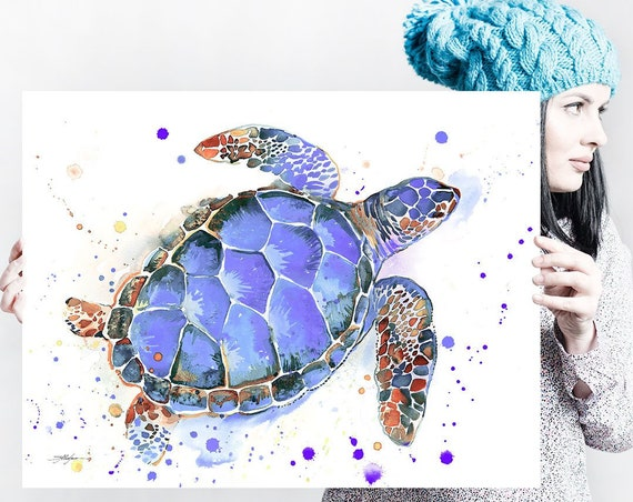 Purple Sea turtle watercolor painting print by Slaveika Aladjova, art,animal, illustration, Sea art, sea life art, home decor, Wall art