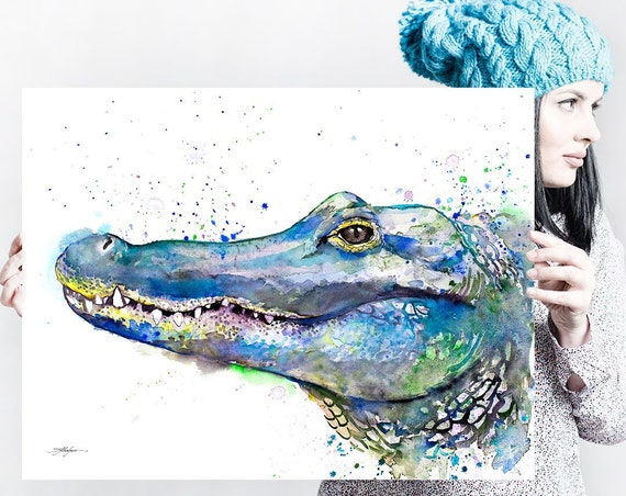 Alligator watercolor painting print by Slaveika Aladjova, art, animal, illustration, home decor, Nursery, gift, Wildlife, wall art