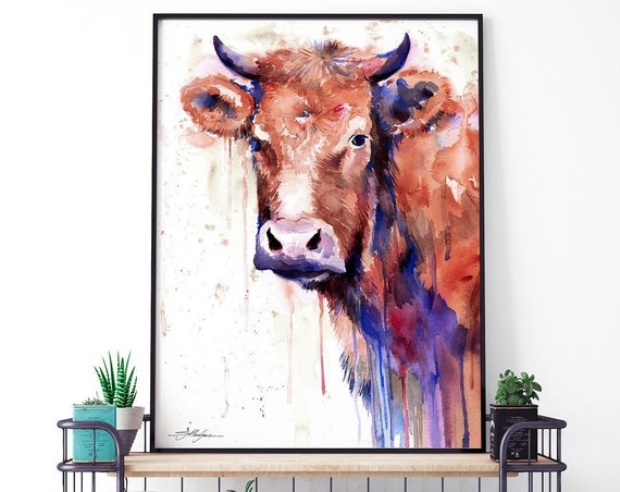 Brown cow  watercolor framed canvas by Slaveika Aladjova, Limited edition, art, animal watercolor, animal illustration, art, farm,