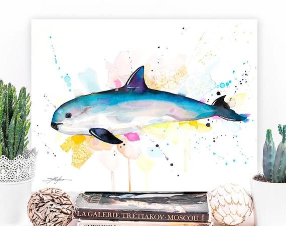 Vaquita watercolor painting print by Slaveika Aladjova, art, animal, illustration, Sea art, sea life art, nautical, ocean art, wall art