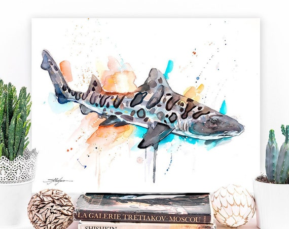 Leopard shark watercolor painting print by Slaveika Aladjova, art, animal, illustration, Sea art, sea life art, home decor, Wall art